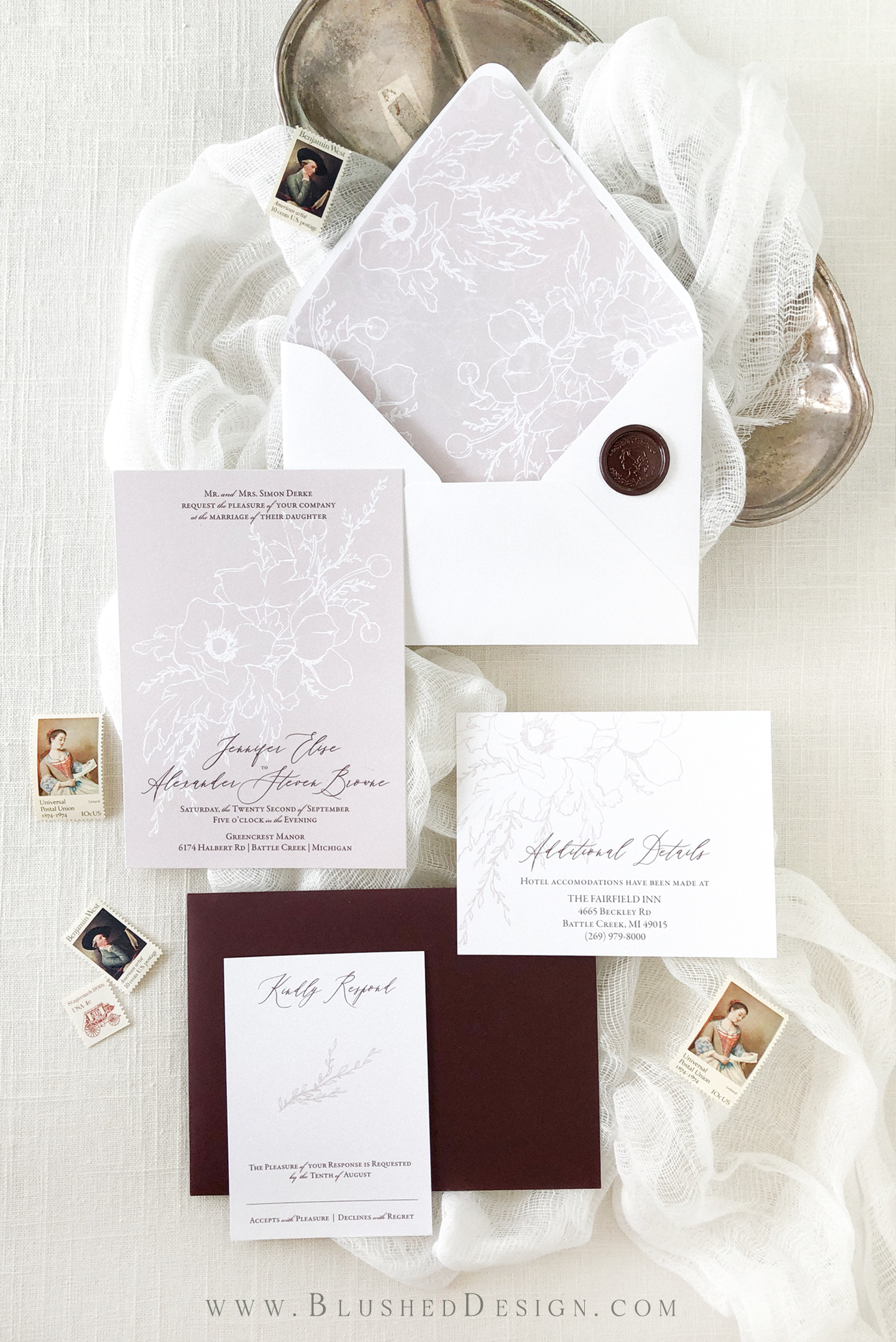 Bold modern wedding invitations with a delicate floral illustration, fully patterned envelope liner and custom wax seal.  I love the modern text lay out paired with the sketchy floral of this wedding invitation suite!  So elegant and romantic. #romanticwedding #fineartwedding #weddingstationery #weddinginvitations #weddinginspiration