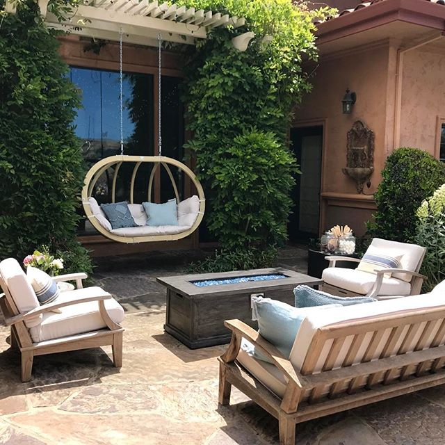 Now that the sun is out, make sure your outdoor space is a reflection of the fabulousness happening indoors! #DesignTip Want to update your outdoor space? Add a swing! Whether it's a hanging chair or cozy bench, hang it from your vine covered arbor or a simple stand. There is a perfect swing for every outdoor haven! #SwingMe #Summer #BeReady for #BackyardEntertaining #FunInTheSun #OutdoorDecor #HangingChair #InteriorDesign and #ExteriorDesign #FilthyGorgeous #Fabulousness
