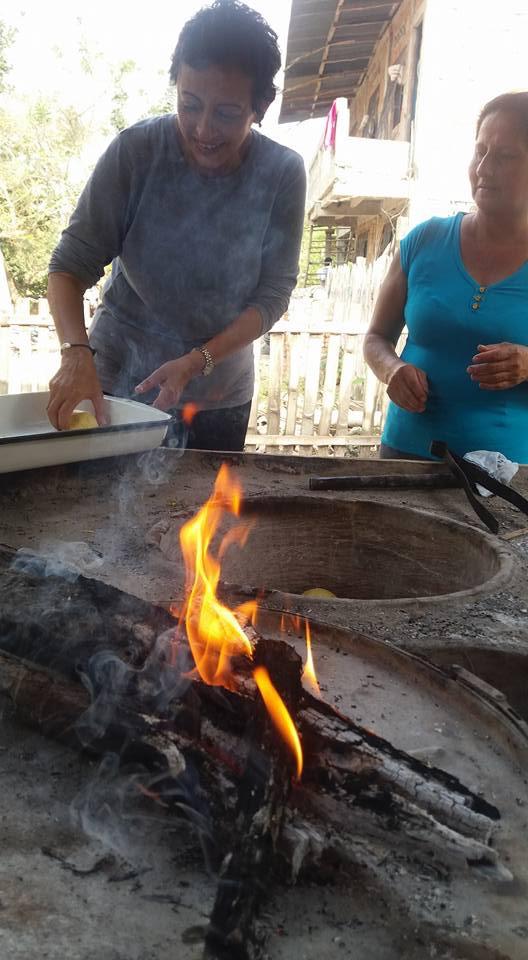 Making tortillas with Marta.