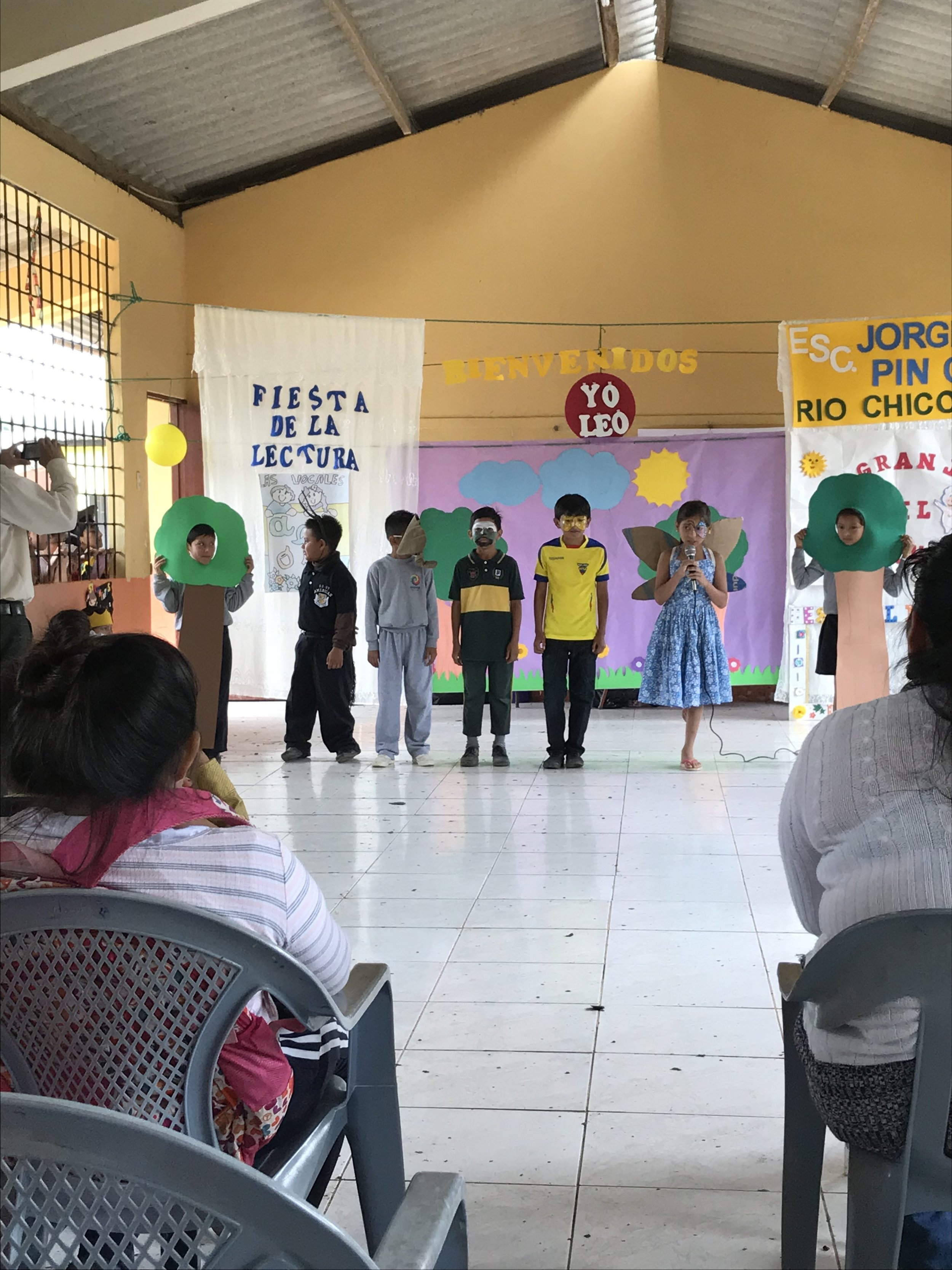 The children presenting a skit for reading day.
