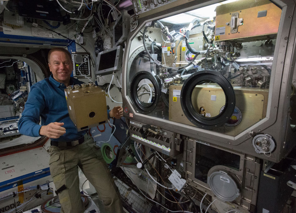 Expedition 47 Commander Tim Kopra works to install the OASIS experiment in the   Microgravity Science Glovebox. Photo Credit: NASA