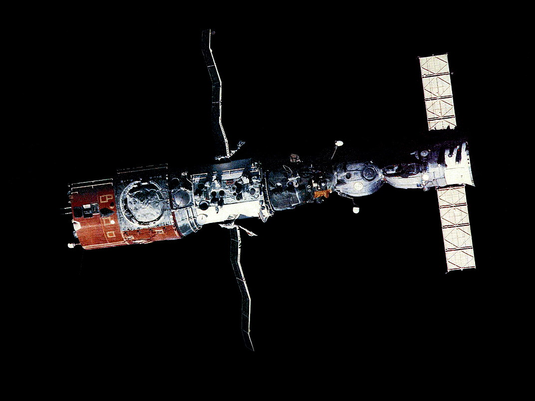 A Soyuz is seen docked to the first multi-docking port space station, Salyut 6, in the late 1970s. Photo Credit: Roscosmos