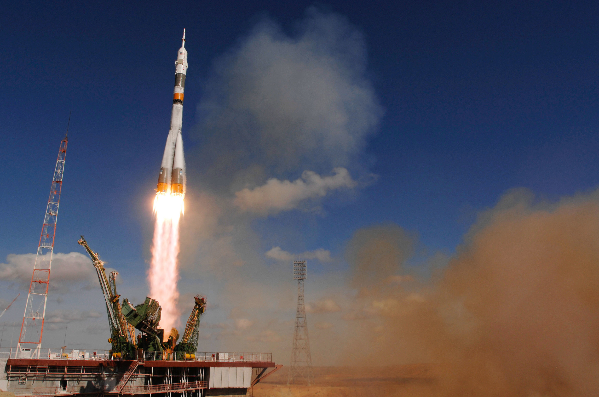 A Soyuz launches toward the International Space Station. Photo Credit: Bill Ingalls / NASA