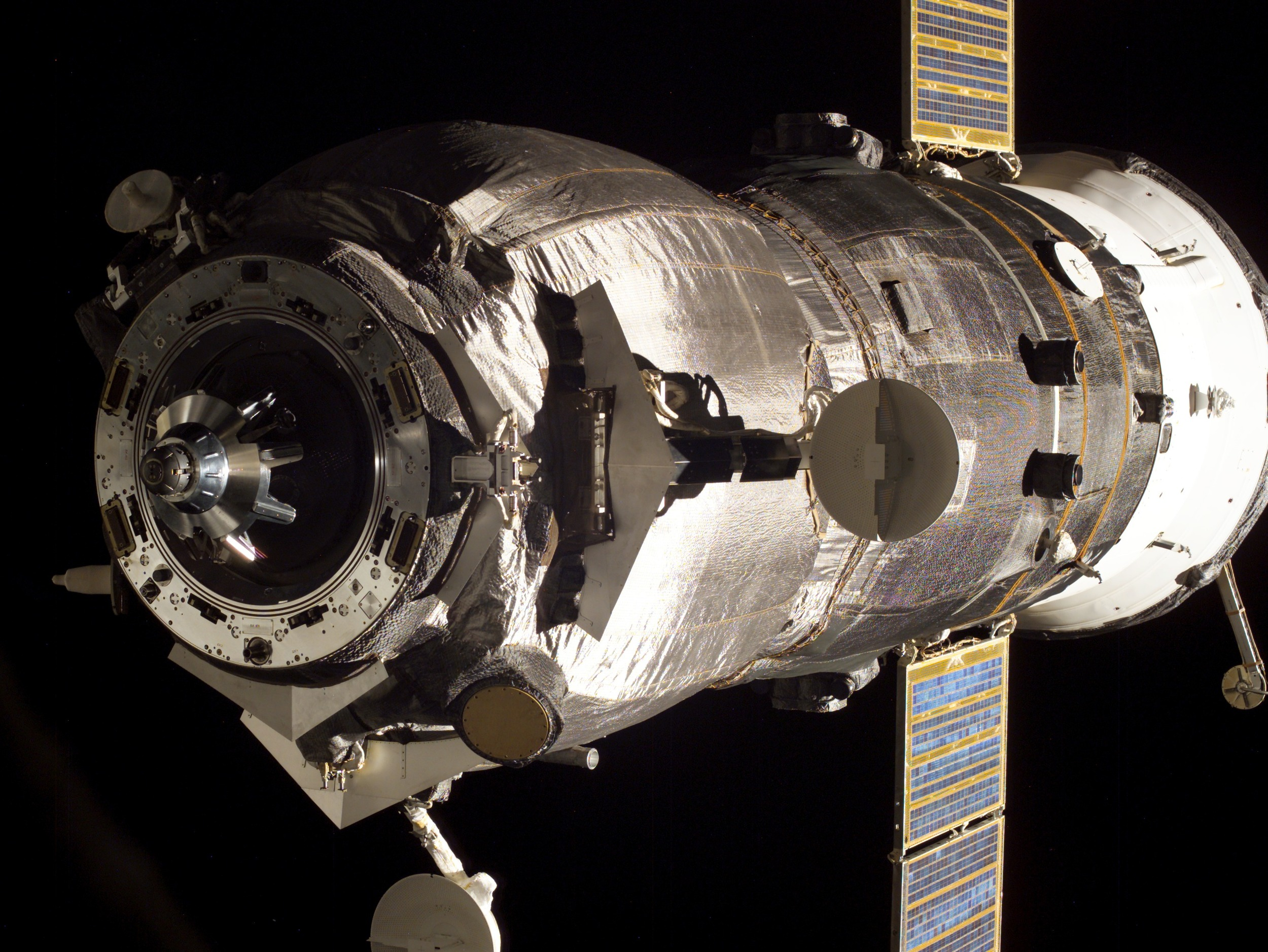 A Progress meters away from docking. Photo Credit: NASA