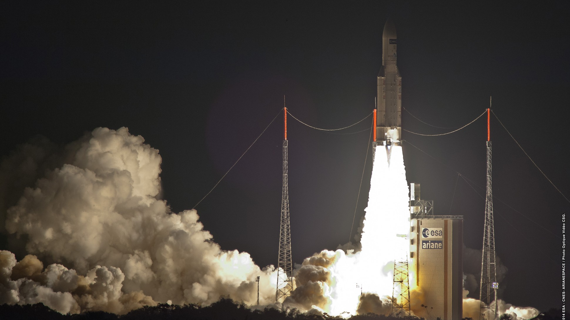 An Ariane V rocket lifts the ATV spaceward. Photo Credit: Arianespace