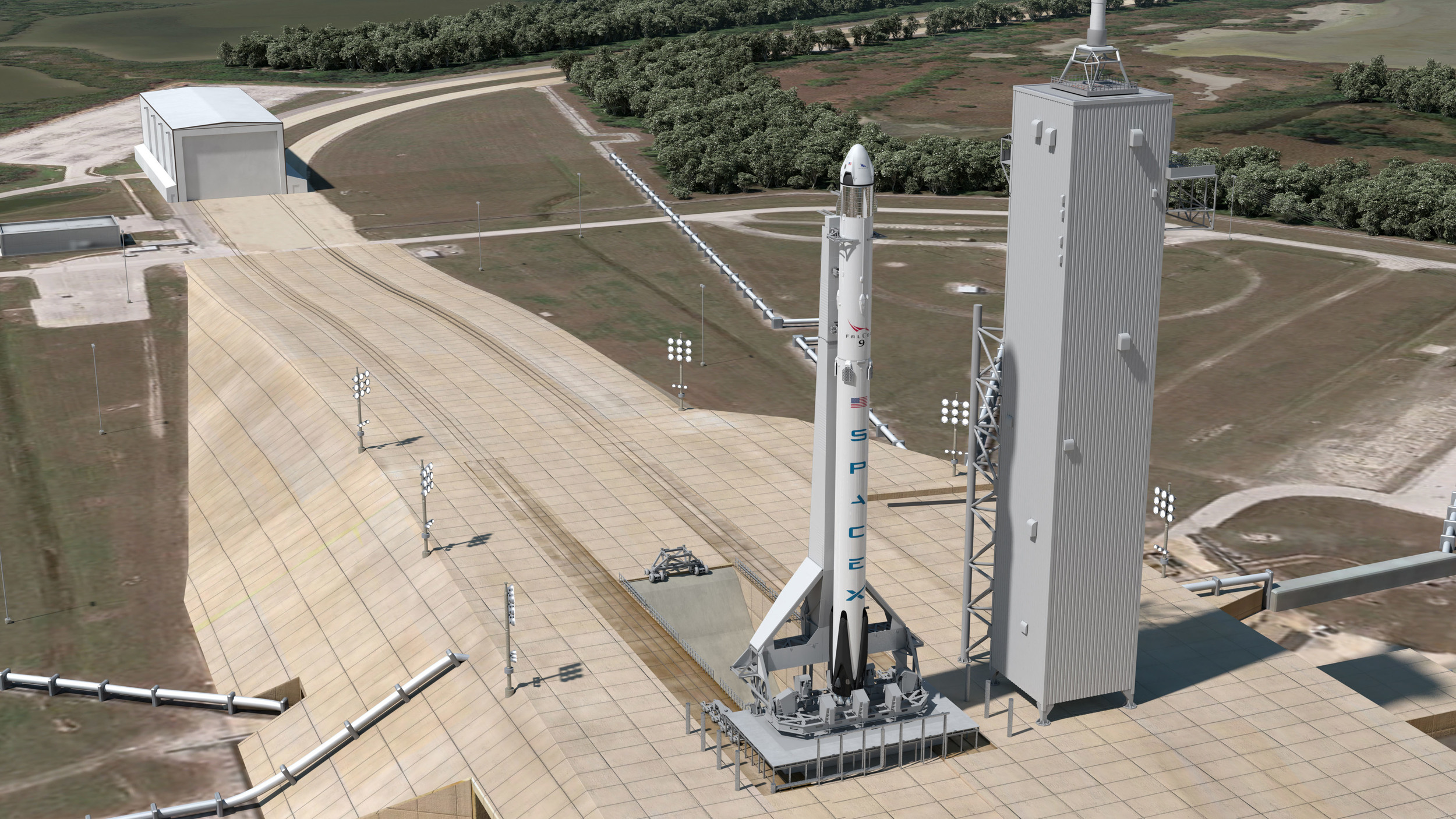 An artist's rendering of Crew Dragon atop a Falcon 9 at Launch Complex 39A. Image Credit: SpaceX