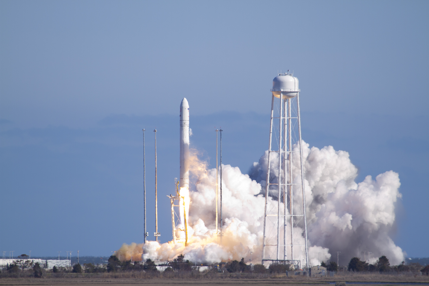 Cygnus is lofted into space by its primary launch vehicle, Antares. Photo Credit: Orbital ATK