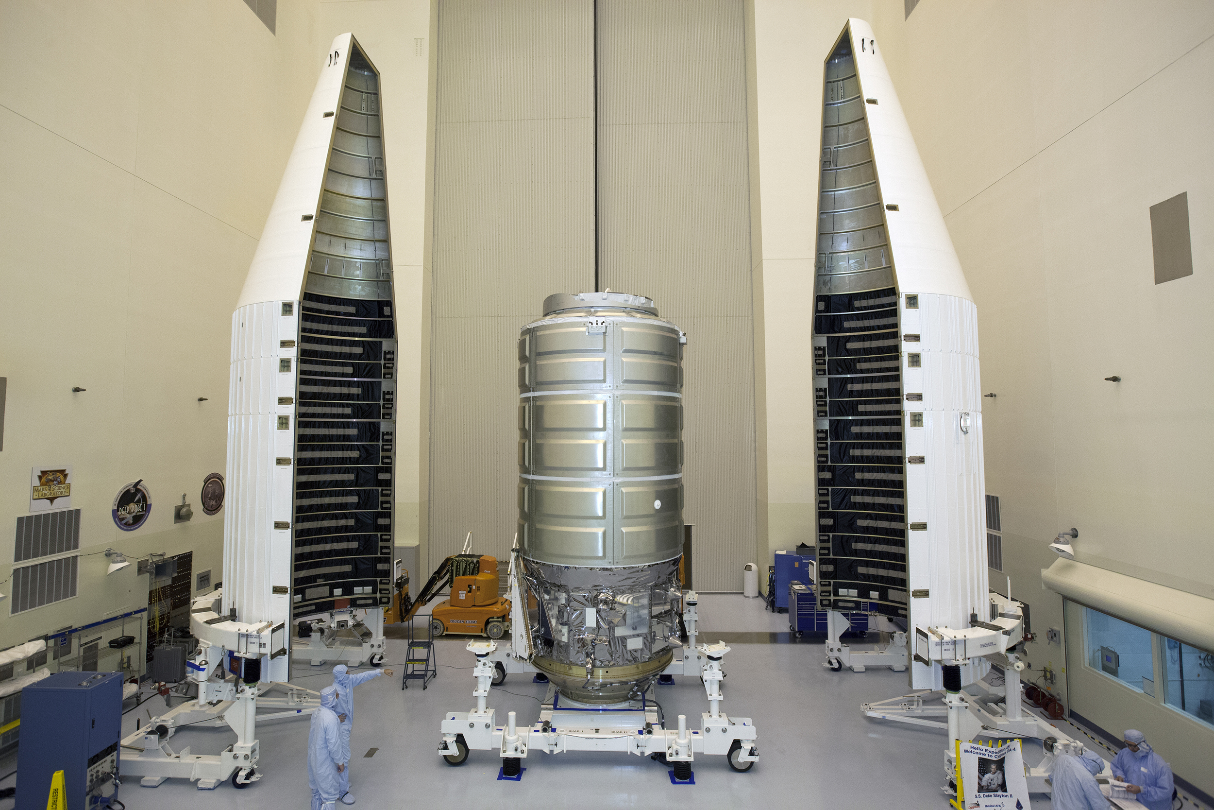 Cygnus about to be encapsulated by an Atlas V payload faring. Photo Credit: NASA