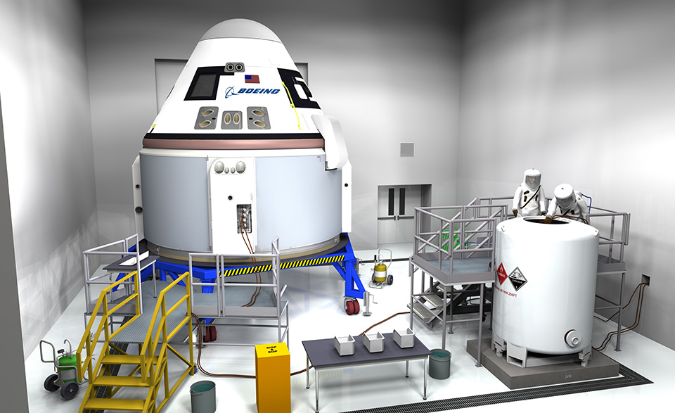 An artist's rendering of a CST-100 being processed prior to launch. Image Credit: Boeing
