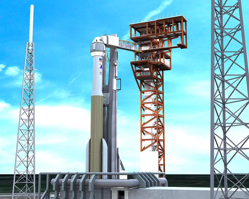 An artist's rendering of CST-100 atop an Atlas V and Launch Complex 41 in Florida. Image Credit: Boeing