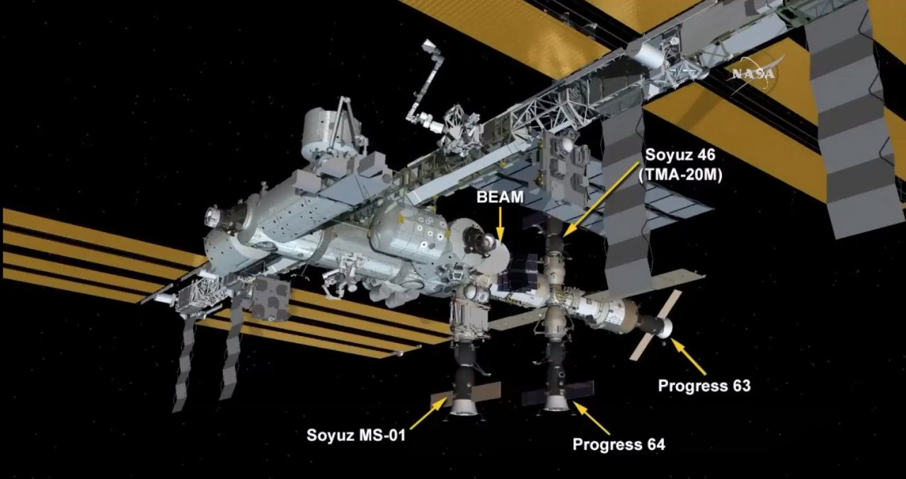 Soyuz TMA-20M, also called Soyuz 46 in NASA's nomenclature, was docked to the   Poisk  module near the top of the Russian Orbital Segment. Image Credit: NASA TV