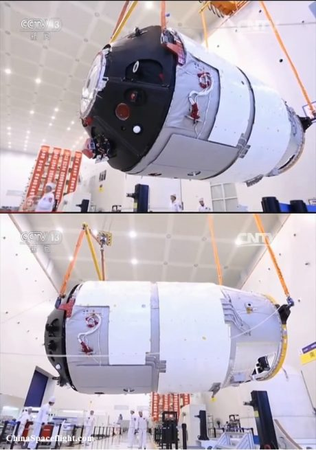 The Tiangong 2 space lab being prepared for launch. Photo Credit: CCTV