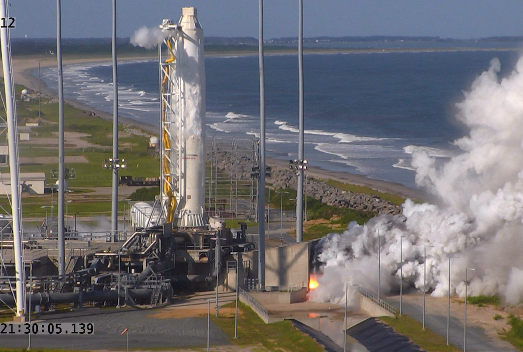 """In late-spring, 2016, Orbital ATK conducted a """"hot fire"""" test to ensure the new RD-181 engines worked properly. Photo Credit: Orbital ATK"""