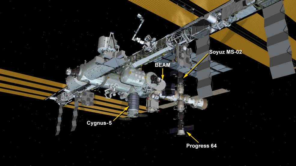 The configuration of the International Space Station as of Nov. 4, 2016. There are currently only two visiting vehicles attached to the outpost: The OA-5 Cgynus, Progress MS-03 and Soyuz MS-02. Image Credit: NASA
