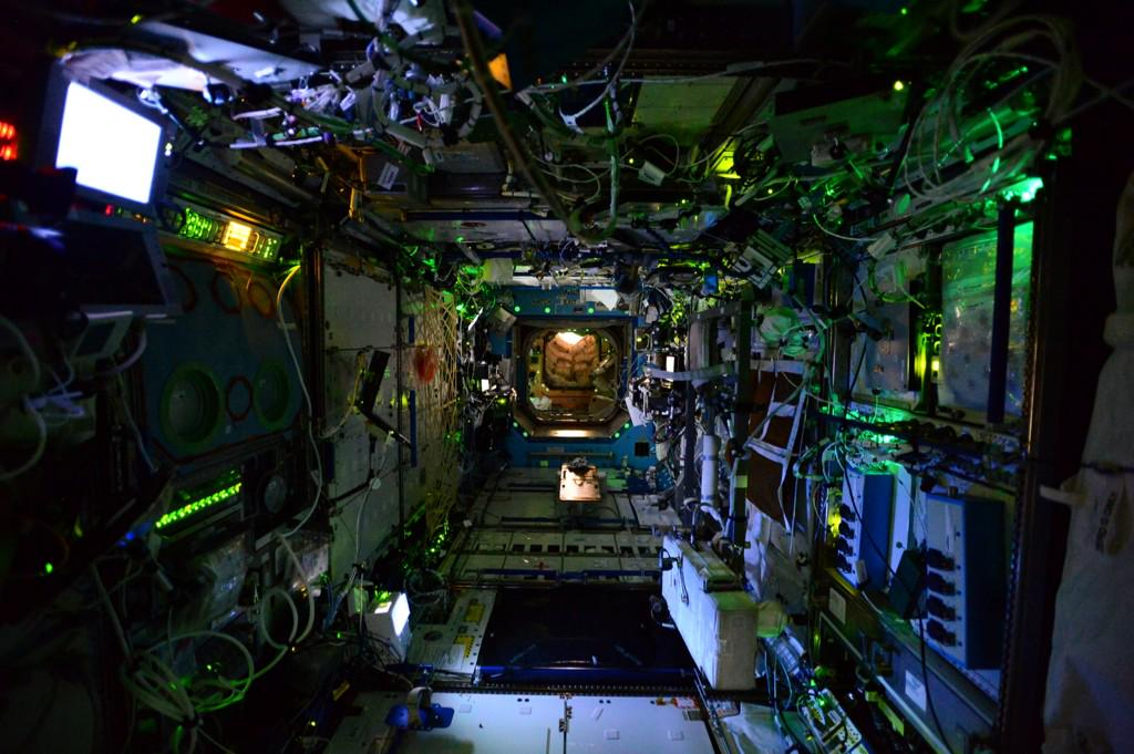 At night, the lights are dimmed on the International Space Station. This is a view from the U.S. Destiny Laboratory. Photo Credit: NASA