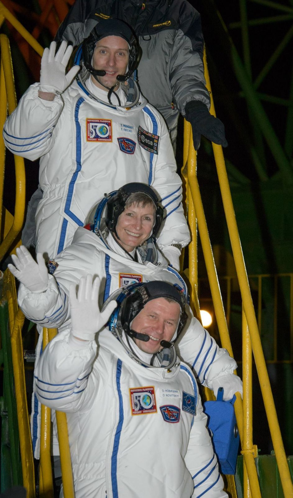 Soyuz MS-03 crew. Photo Credit: Bill Ingalls / NASA