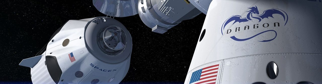An artist's rendering of a Crew Dragon on final approach to dock with the International Space Station. Image Credit: SpaceX