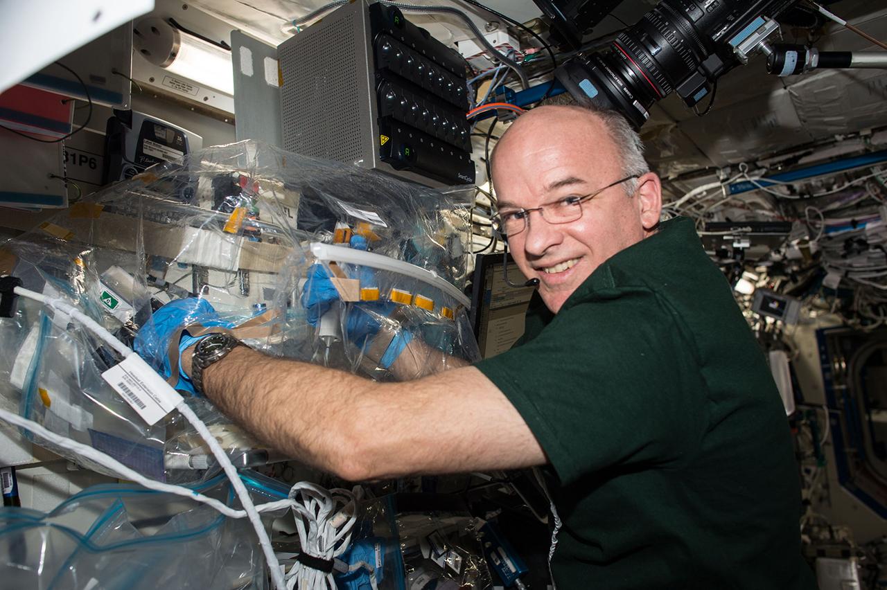 Jeff Williams installs equipment for WetLab-2. Photo Credit: NASA