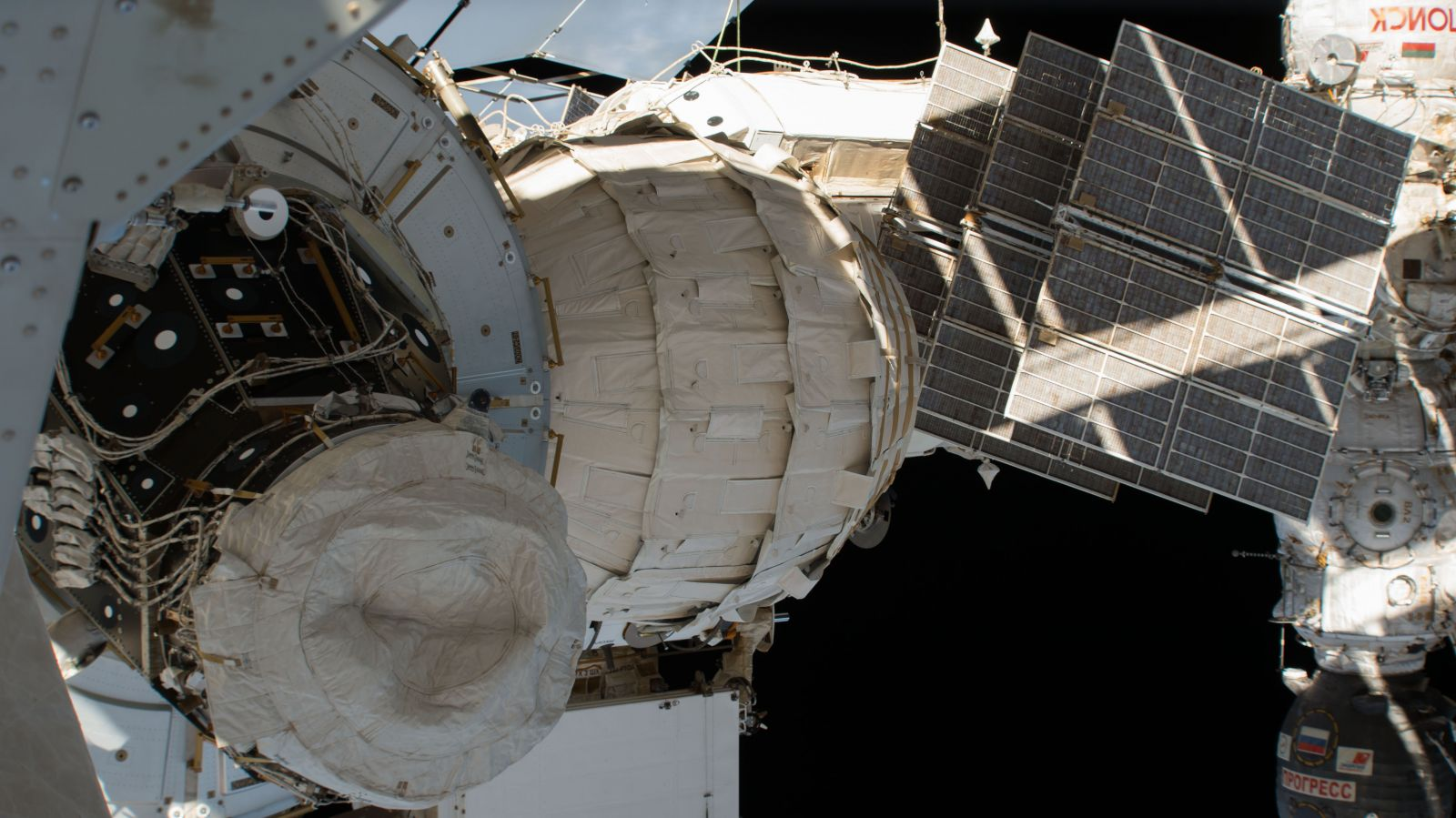 A fully expanded BEAM module on the aft port of the  Tranquility  node module. Photo Credit: NASA