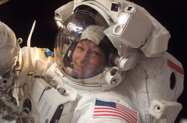 Peggy Whitson on her previous spacewalk during Expedition 16 in January 2008. Photo Credit: NASA