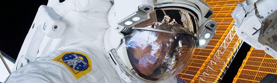 Kimbrough on the previous spacewalk, EVA-38. Photo Credit: NASA