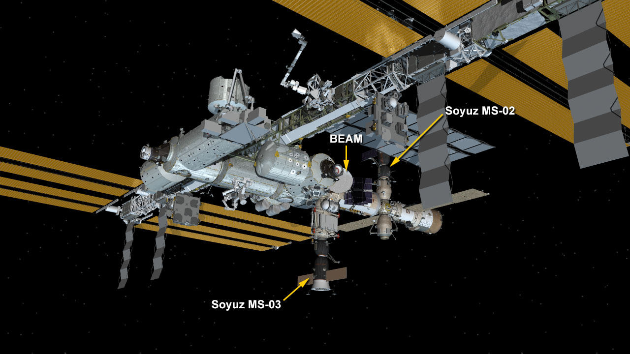 As of Jan. 31, 2017, only two vehicles are docked to the International Space Station: Soyuz MS-02 and Soyuz MS-03. That will change in the coming month, however, when a SpaceX Dragon capsule and another Russian Progress cargo ship launch to the orbiting laboratory. Image Credit: NASA