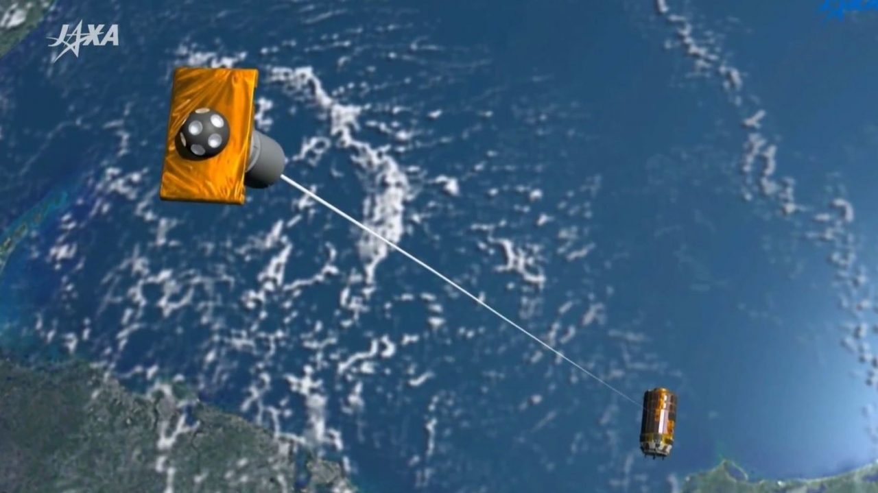 An artist's rendering of the KITE electrodynamic tether experiment. The Japanese space agency has until Saturday to deploy the experiment. Image Credit: NASA