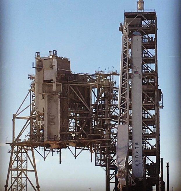 The Falcon 9 rocket that will support the CRS-10 mission was moved to Launch Complex 39A and raised into the vertical position. A static fire test was performed on the rocket Sunday, Feb. 12, 2017. Photo Credit: Elon Musk / SpaceX