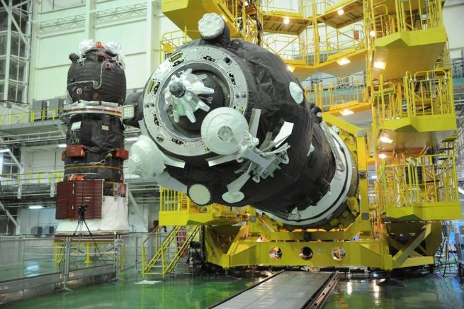 Progress MS-05 is moved to the horizontal position before being encapsulated inside the Soyuz-U fairing. Photo Credit: Roscosmos