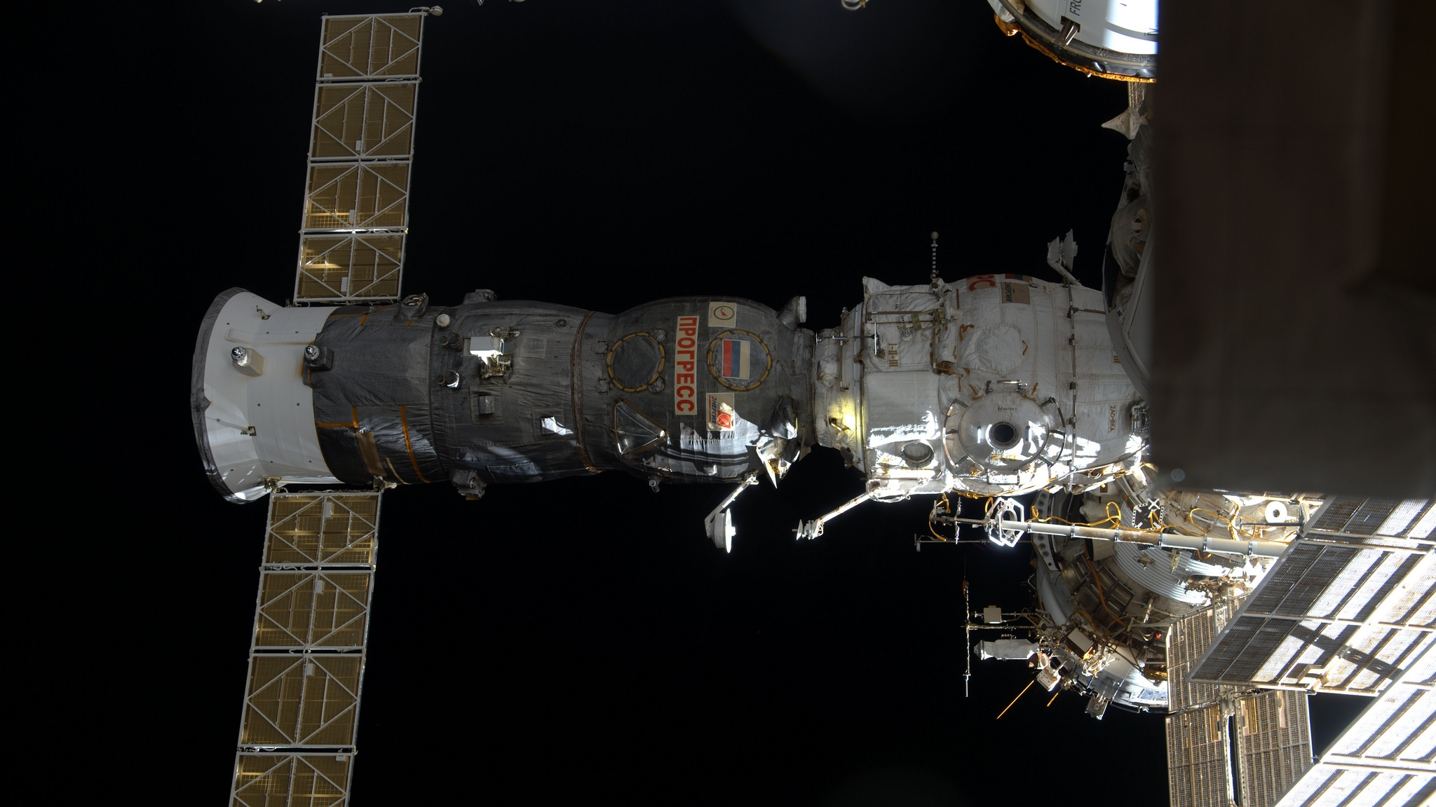 A file photo of a previous Progress spacecraft docked with the  Pirs  module. Photo Credit: NASA