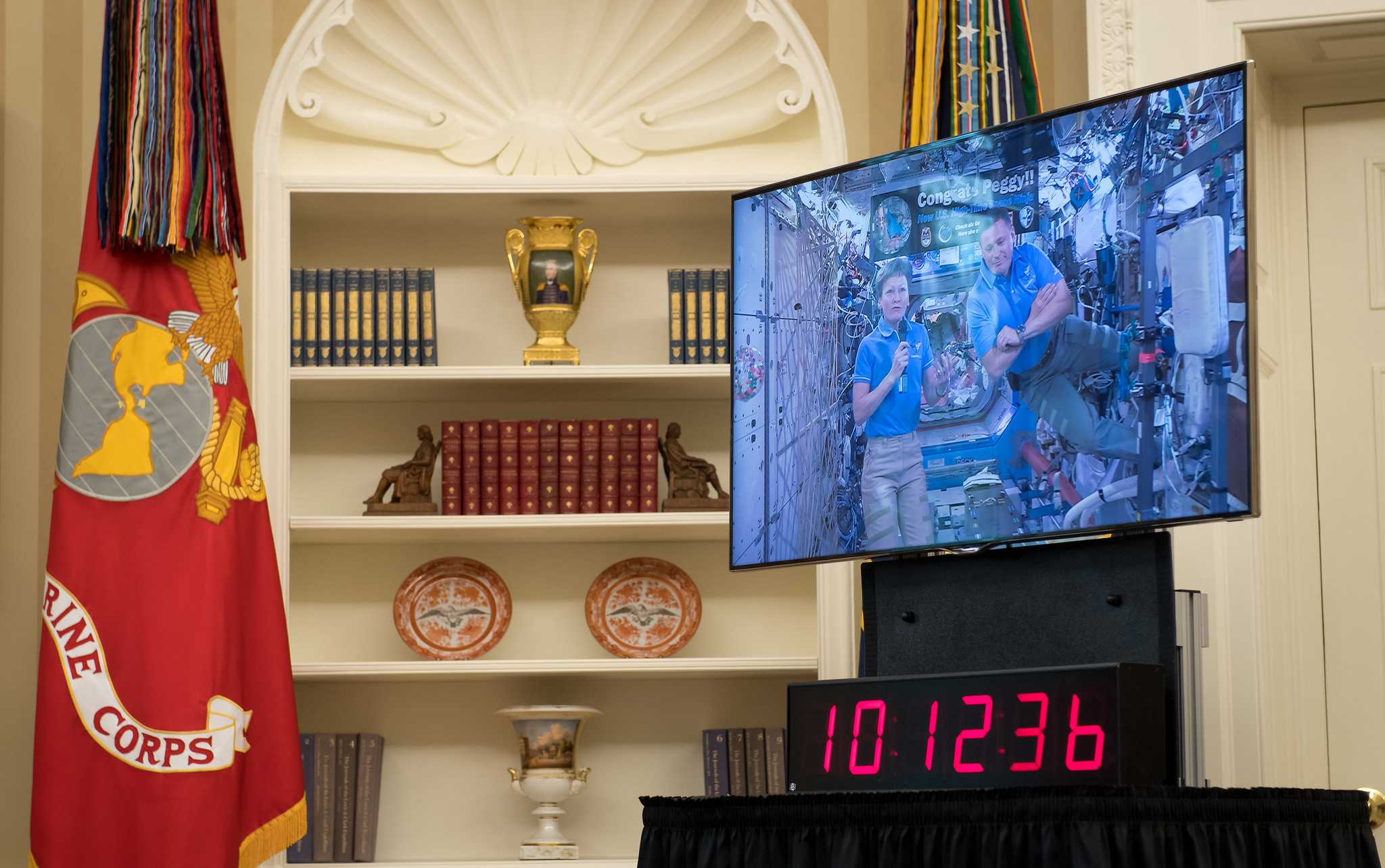 The president watched Whitson and Fischer via a live stream into the Oval Office. Photo Credit: Bill Ingalls / NASA