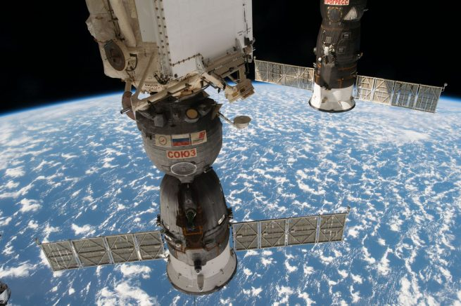 Soyuz MS-03, front, was docked with the Rassvet module for the duration of its stay at the International Space Station. Photo Credit: NASA Read more at http://www.spaceflightinsider.com/missions/iss/soyuz-ms-03-crew-returns-to-earth-after-nearly-200-days-in-space/#2y25Tz8hKvdAeyEo.99