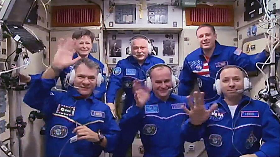 The full Expedition 52 meets in the  Zvezda service module after Soyuz MS-05 docked with the  Rassvet module. Top row, from left to right: Peggy Whitson, Fyodor Yurchikhin, and Jack Fischer. Bottom row, from left to right: Paolo Nespoli, Sergey Ryazansky, and Randy Bresnik. Photo Credit: NASA TV