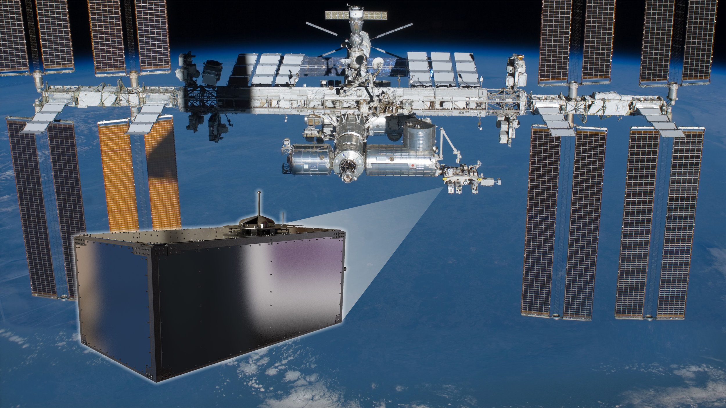A photo illustration of the location of the CREAM experiment. Credit: NASA
