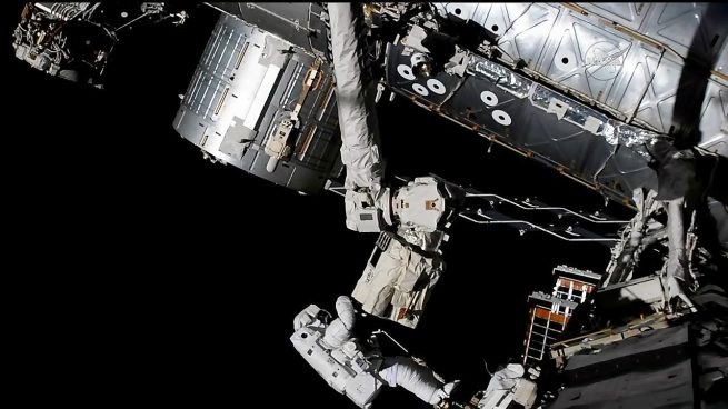 This image is one of the first views from the new, enhanced HD camera. After Acaba installed the new HD camera, he repaired the camera system on the end of the robotic arm's hand. This ensures that the hand can see the vehicles that it's capturing. Credit: NASA