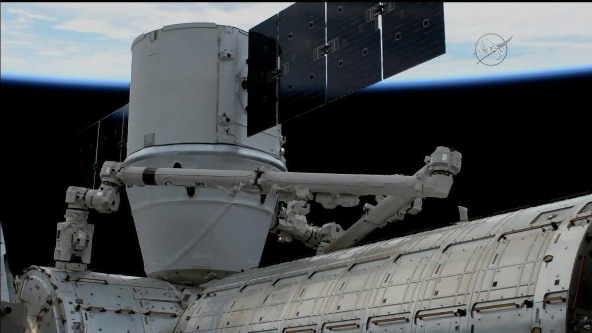 CRS-13 is attached to the International Space Station's Harmony module. Credit: NASA