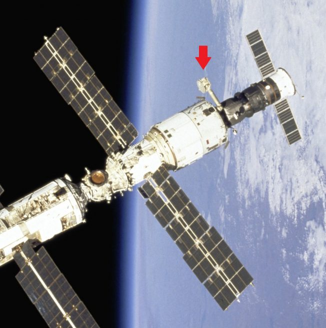 The Lira antenna is located on the Zvezda service module near the rear of the International Space Station. Credit: NASA