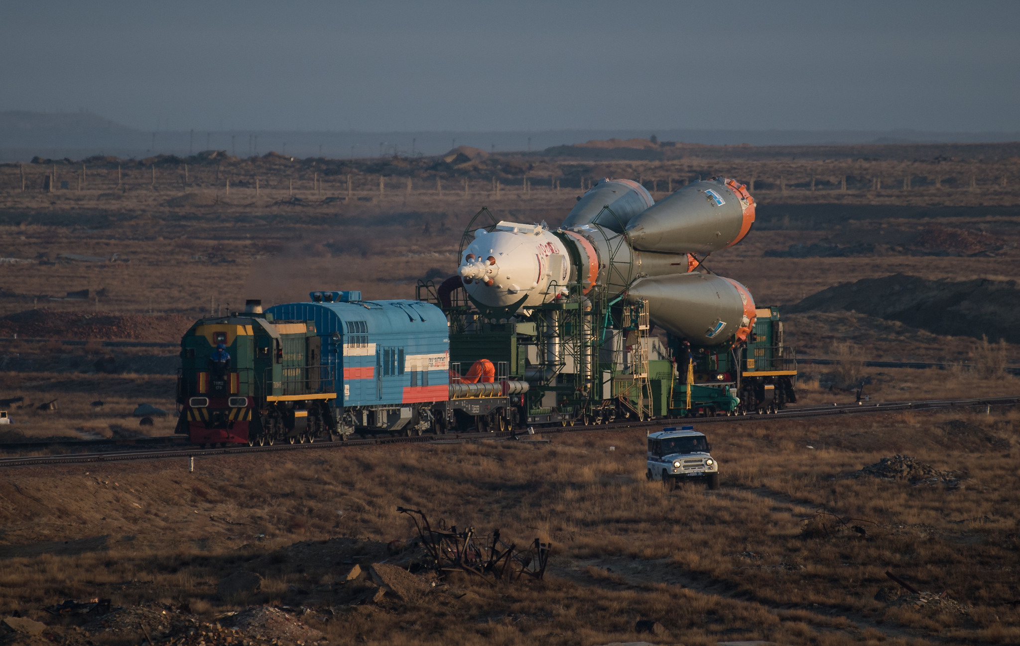 The Soyuz rocket is rolled to the launch pad on March 19, 2018. Credit: NASA/Joel Kowsky