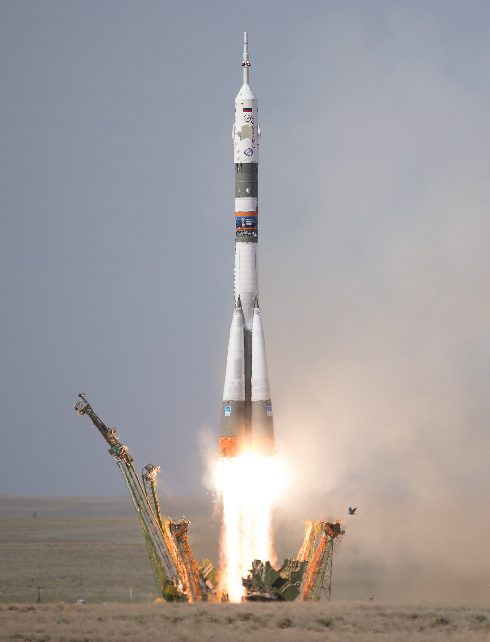 Soyuz MS-09 launches toward space. Photo Credit: Joel Kowsky / NASA