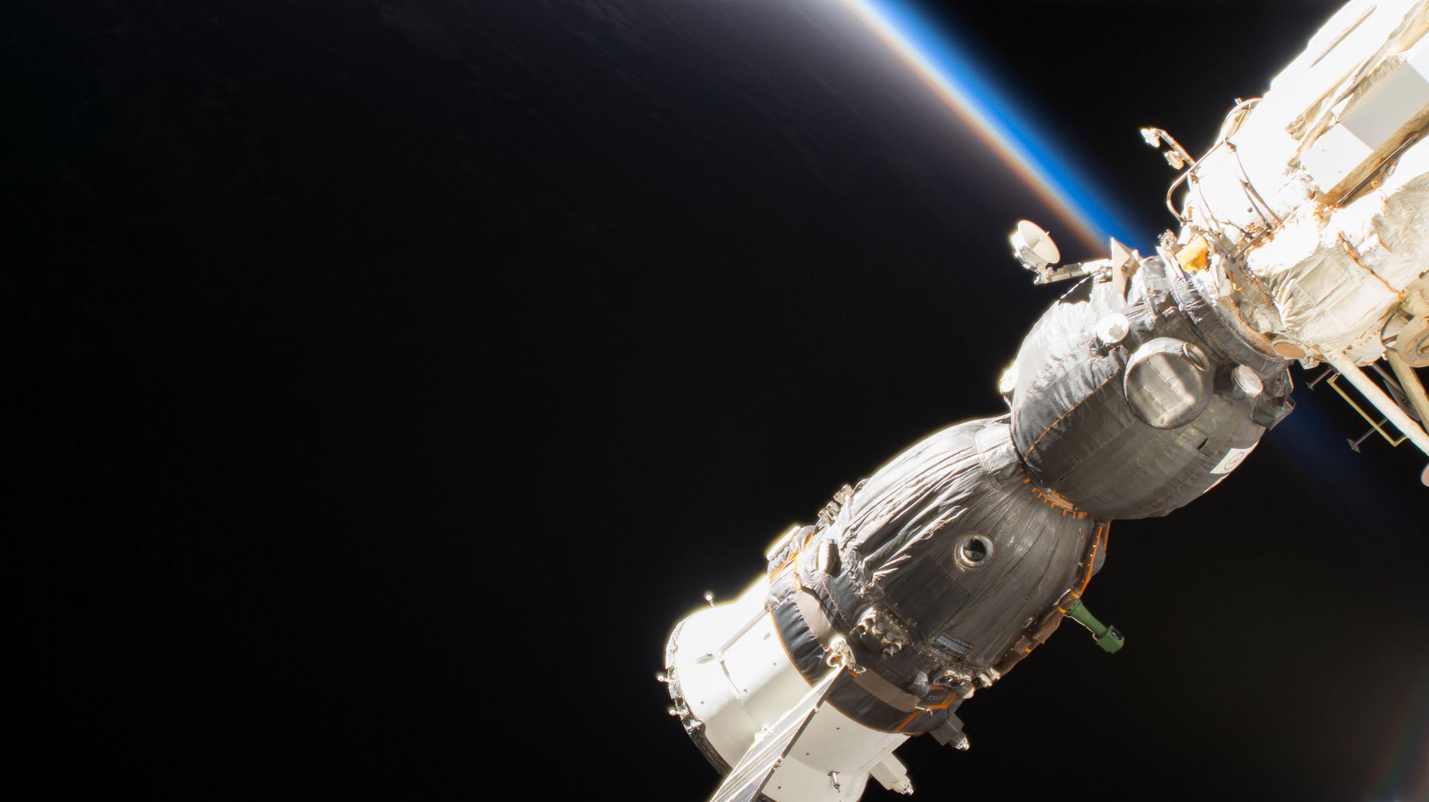 Soyuz MS-09 docked to the Russian Rassvet module. Credit: NASA