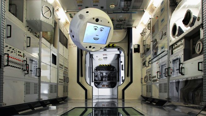 """CIMON """"floating"""" in a mock-up of the ISS. Credit: Airbus"""