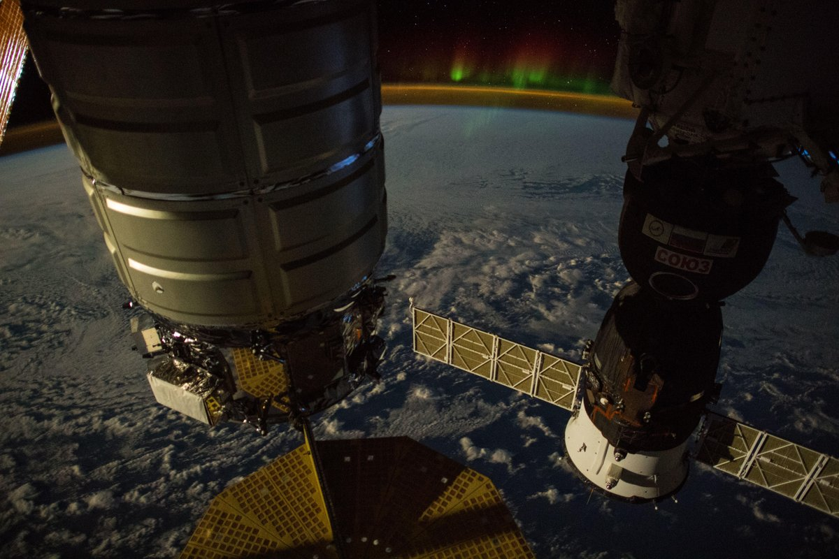 A view of the OA-9 Cygnus before being unberthed on July 15, 2018. Credit: Alexander Gerst / ESA