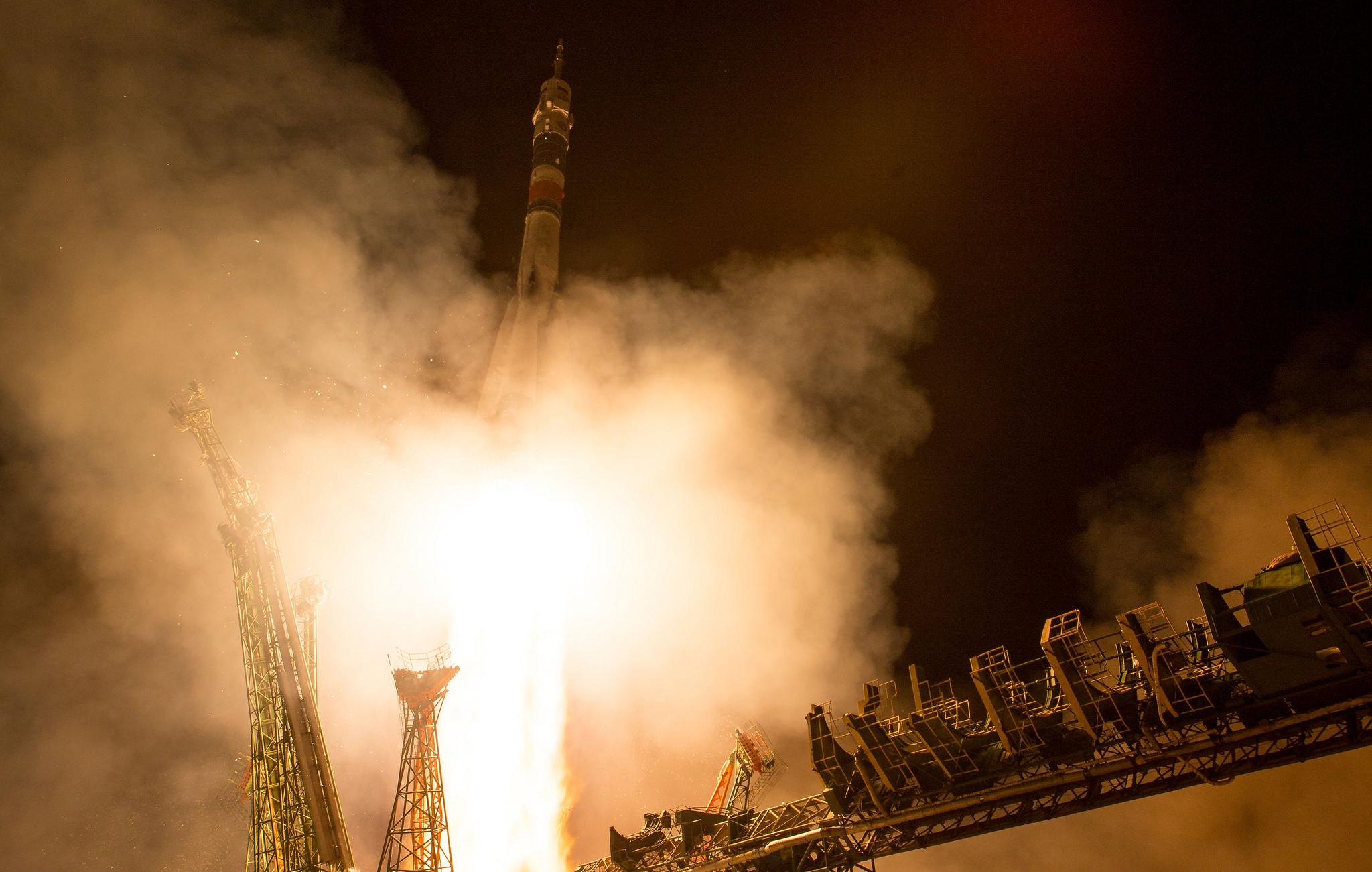 Soyuz MS-08 is launched into space by a Soyuz-FG rocket from Baikonur Cosmodrome, Kazakhstan. Credit: NASA/Joel Kowsky