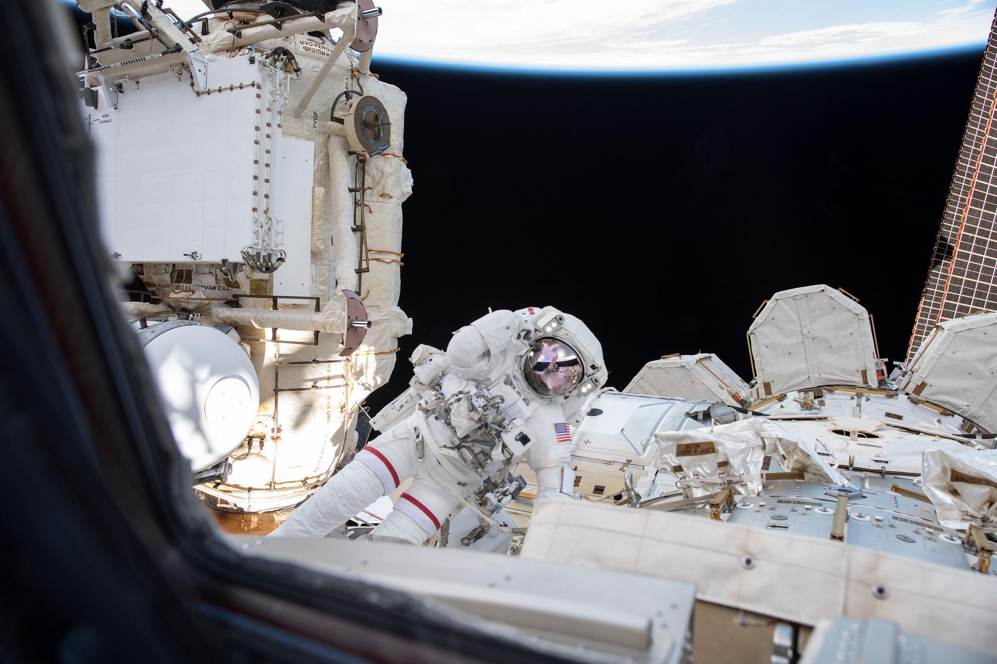 NASA astronaut Drew Feustel during U.S. EVA-49. Credit: NASA