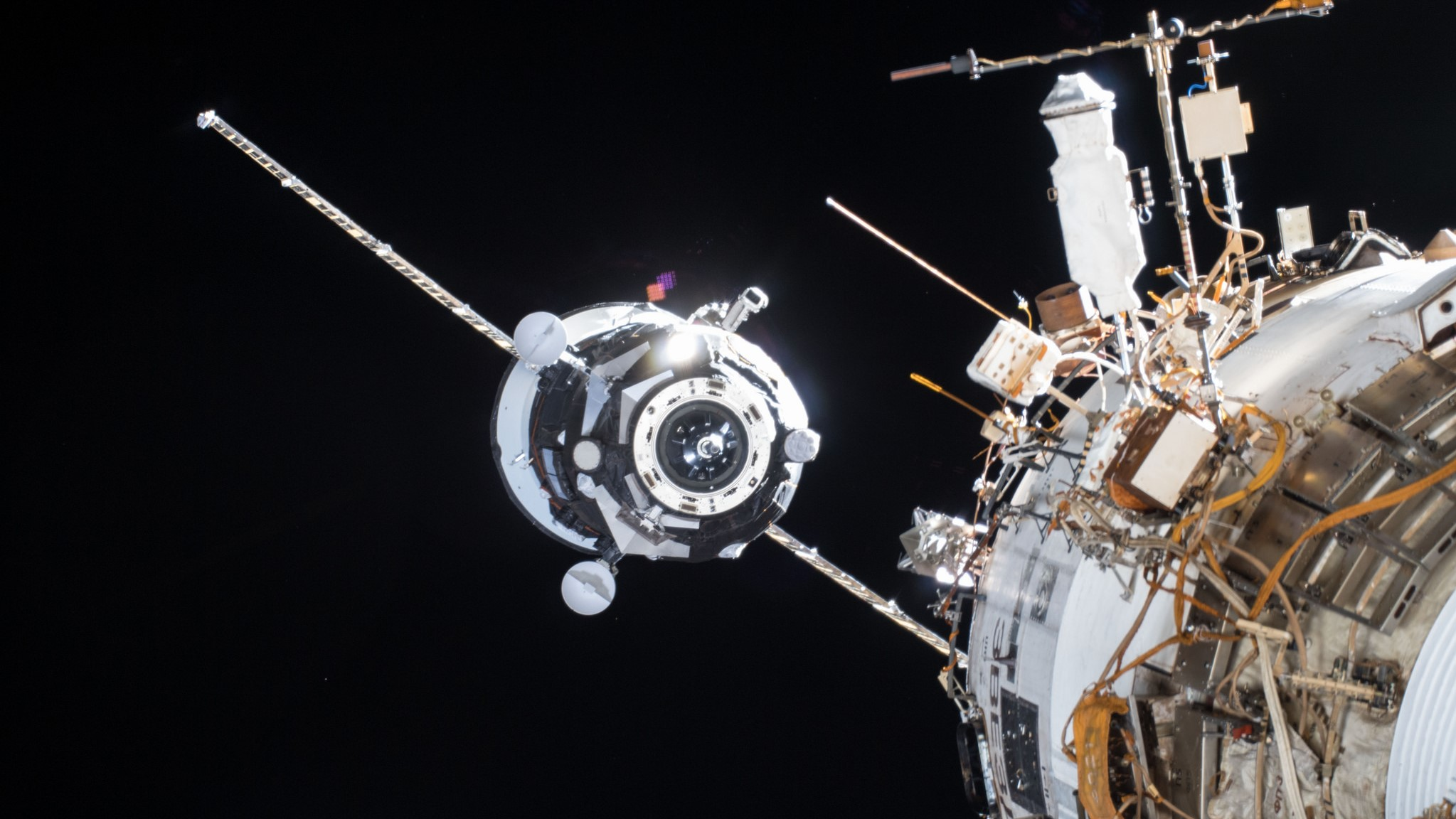Progress MS-08 arrives at the International Space Station on Feb. 15, 2018, docking with the outpost's Zvezda service module. The spacecraft undocked Aug. 22, 2018. Photo Credit: NASA
