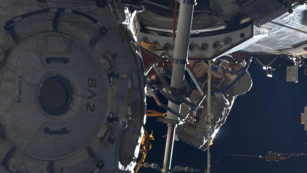 A view of one of the two cosmonauts during Russian EVA-44. Credit: NASA