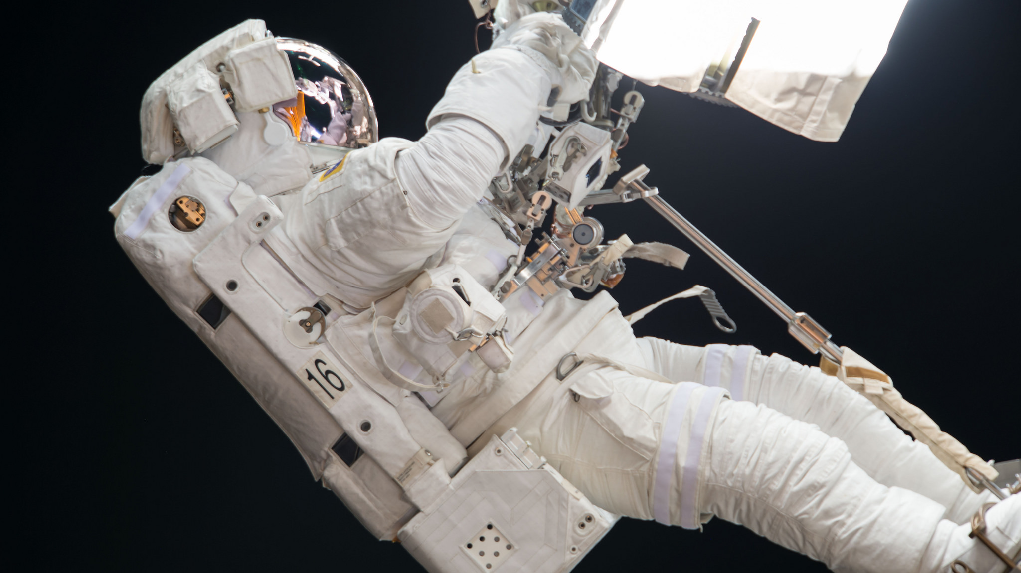 Joe Acaba works on the robotic Canadarm2 during U.S. EVA-46. Credit: NASA