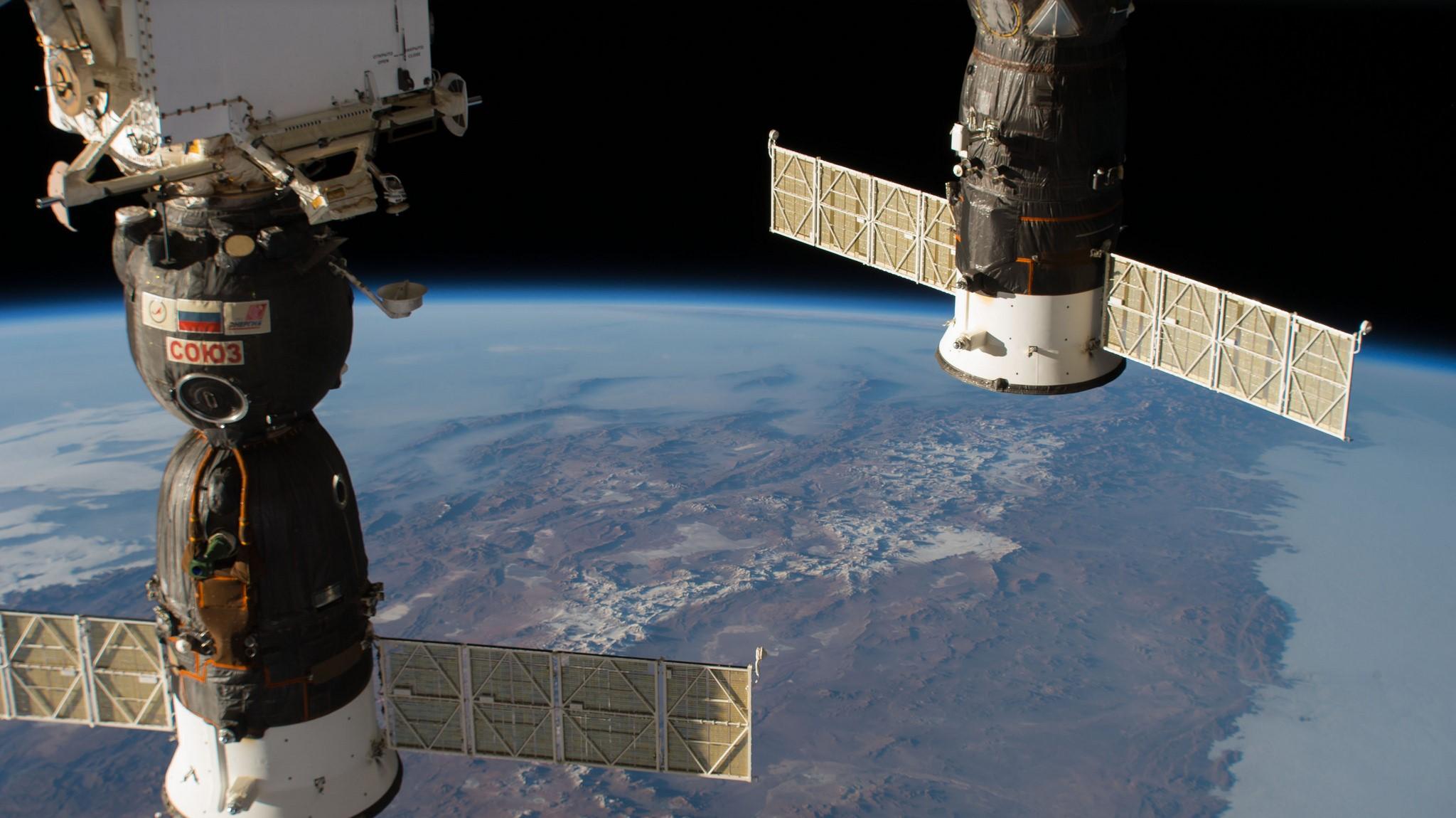 Soyuz MS-09, left, is docked to the Rassvet module. The leak origonated from the upper section of the sapcecraft. Credit: NASA