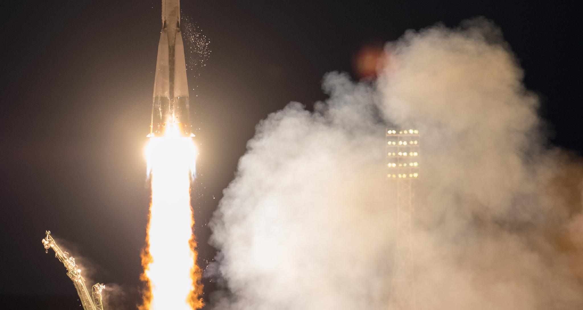 Soyuz MS-05 launches toward the International Space Station. Credit: NASA/Joel Kowsky