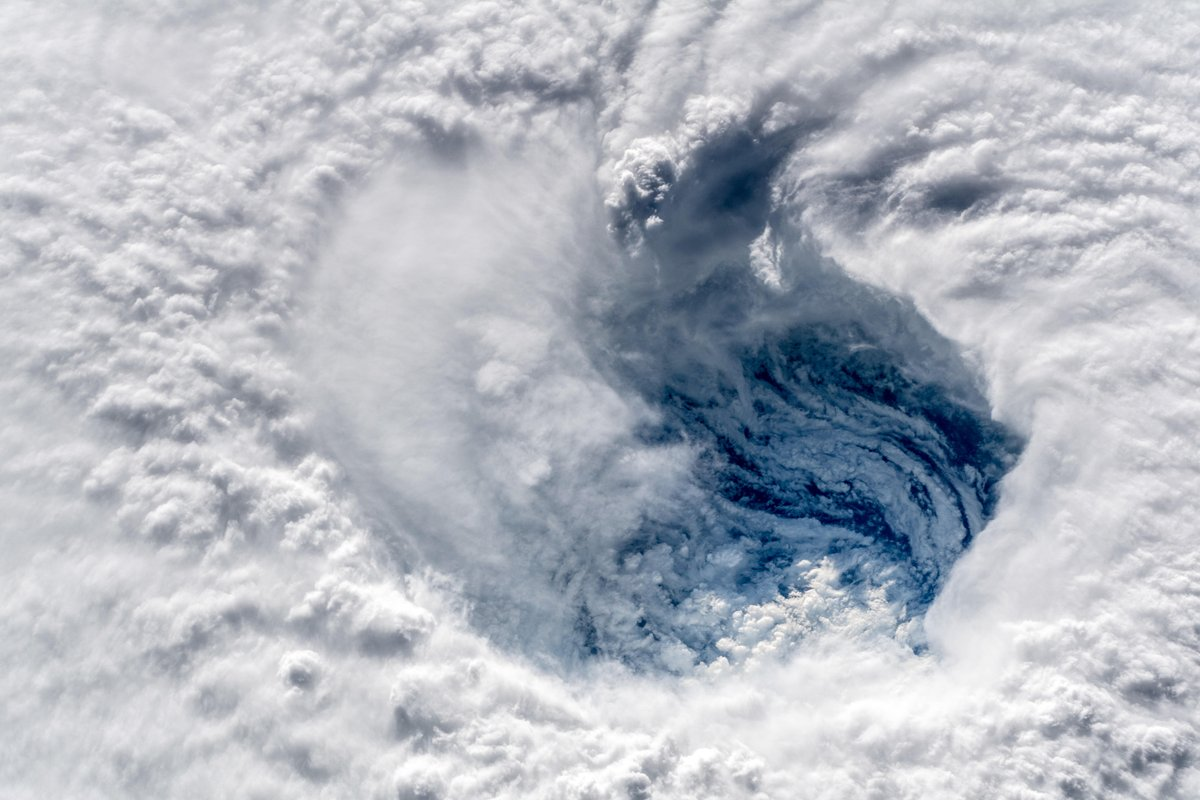 A close-up view of the eye of Hurricane Florence. Credit: Alexander Gerst / ESA